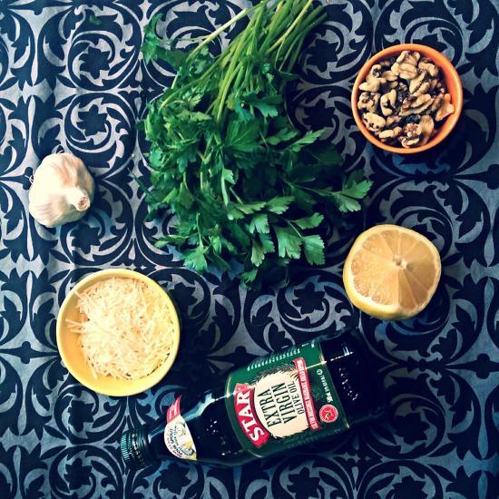 Ingredients for parsley pesto
