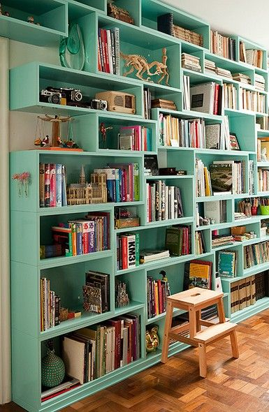 Mint bookshelves