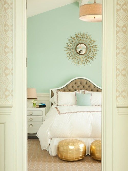 Mint & gold bedroom
