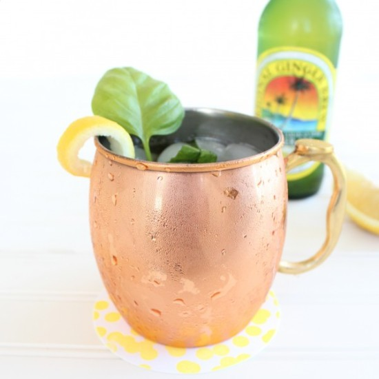 Peach Basil Moscow Mule via Little Leopard Book