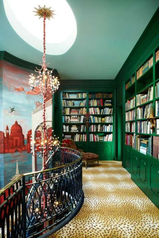 Emerald green bookshelves