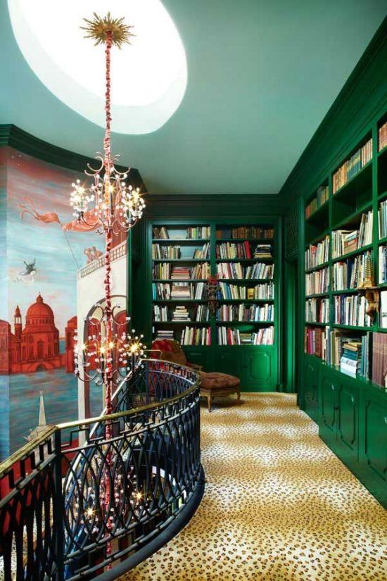 Emerald green bookshelves