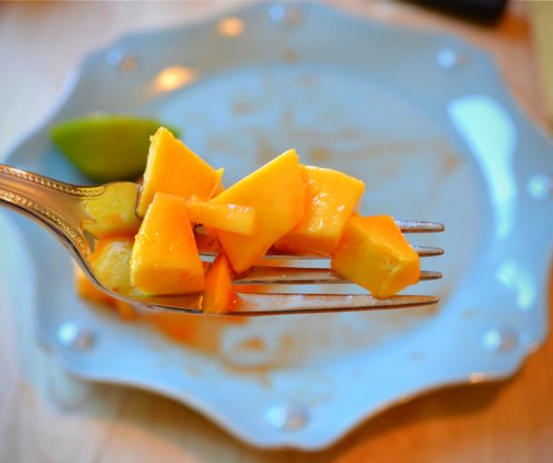 mango on a fork