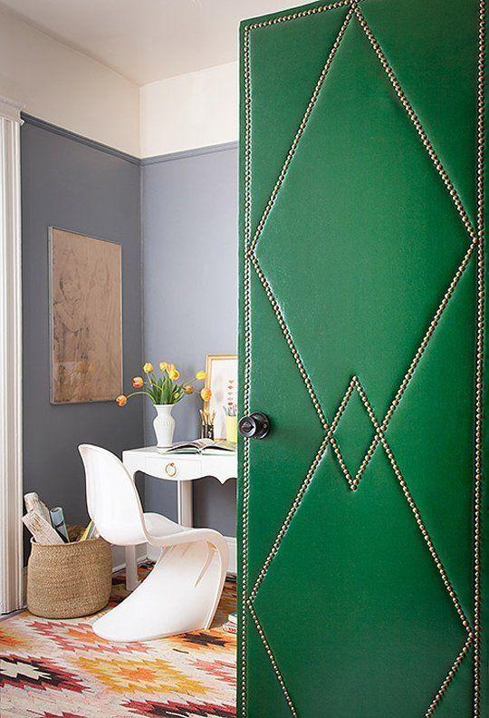 Upholstered emerald green door