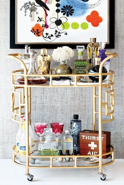 Retro glam bar cart