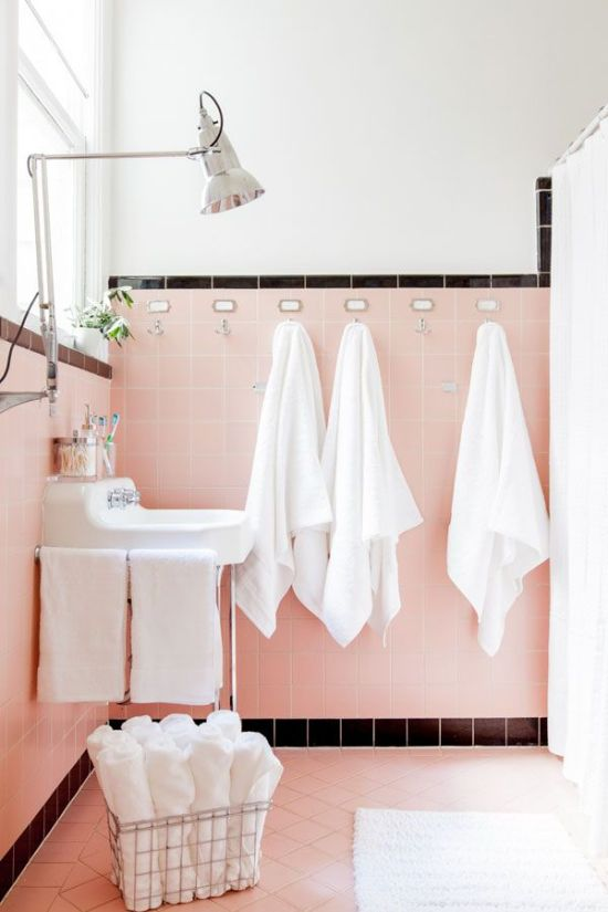 Pale pink bathroom tile