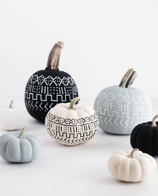 Mud-Cloth-Pumpkins-DIY decorating fall