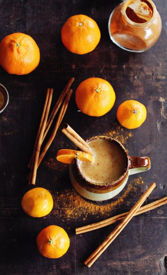 7 Winter Cocktails to Warm Your Soul // Almond Milk Chai with Whiskey and Orange