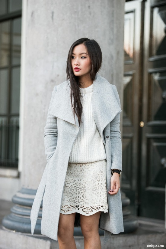 Pale gray wool coat via TLNIQUE
