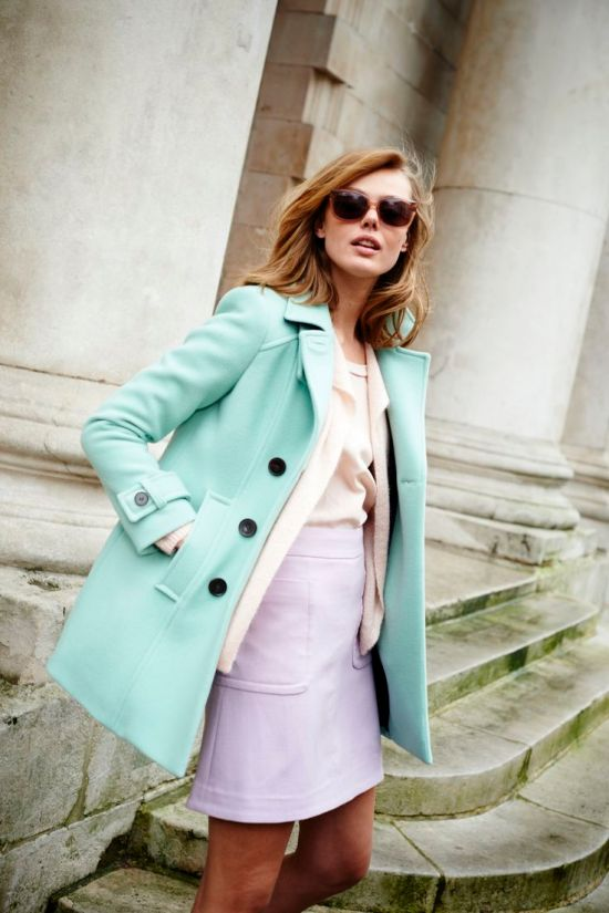 Mint green peacoat via Boden USA