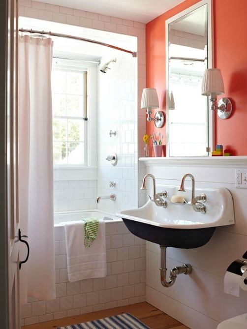 Coral and navy bathroom