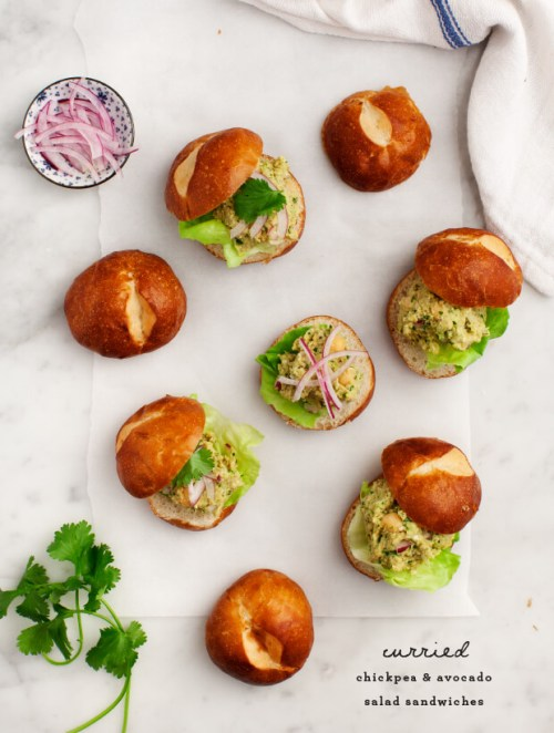 Curried Chickpea & Avocado Sliders via Love & Lemons