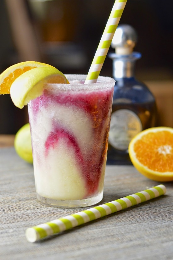 Frozen Margarita with a Sangria Swirl via Virtually Homemade