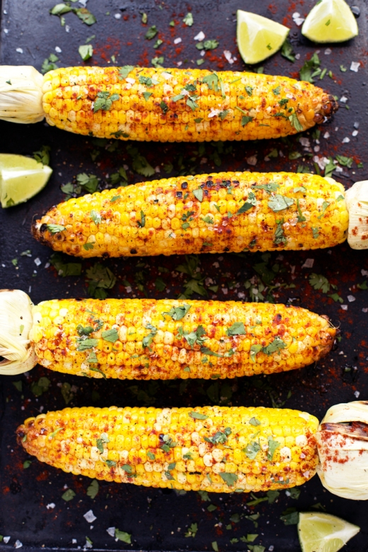 Grilled Lime, Cilantro and Paprika Corn via Blissful Basil