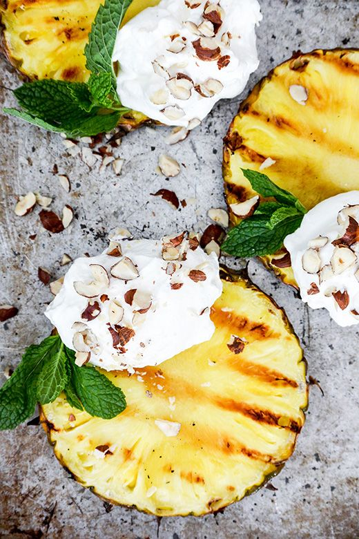 Grilled Pineapple with Coconut Whipped Cream via The Floating Kitchen