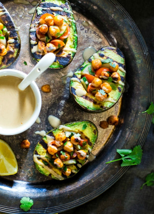 Mediterranean Grilled Stuffed Avocado via Food Faith Fitness