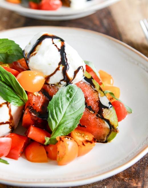 Honey Grilled Watermelon Caprese Salad via How Sweet It Is
