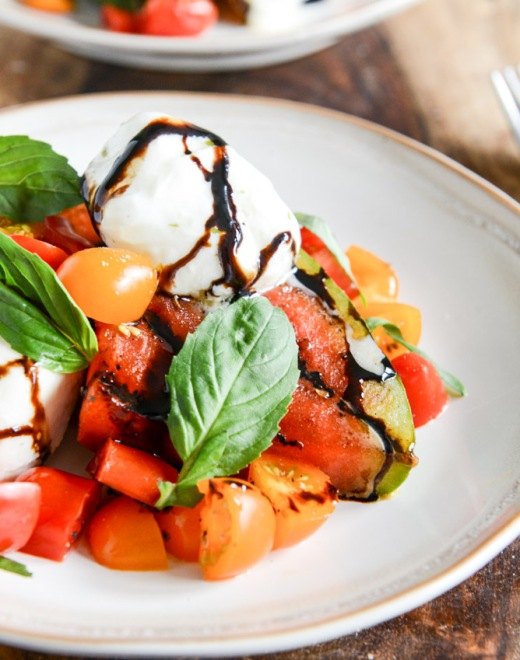 Honey Grilled Watermelon Caprese Salad via How Sweet It Is