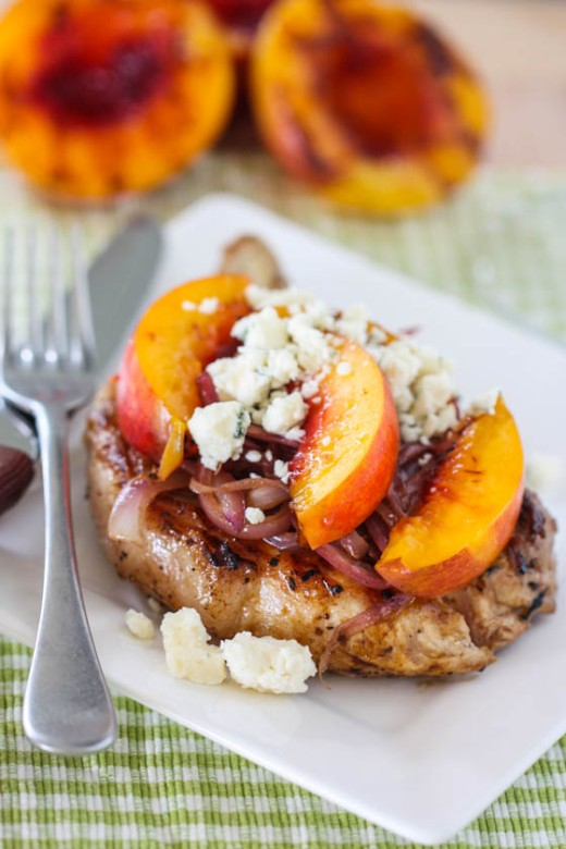 Pork Chops with Grilled Nectarines, Carmelized Onions and Gorgonzola via Eat Live Run