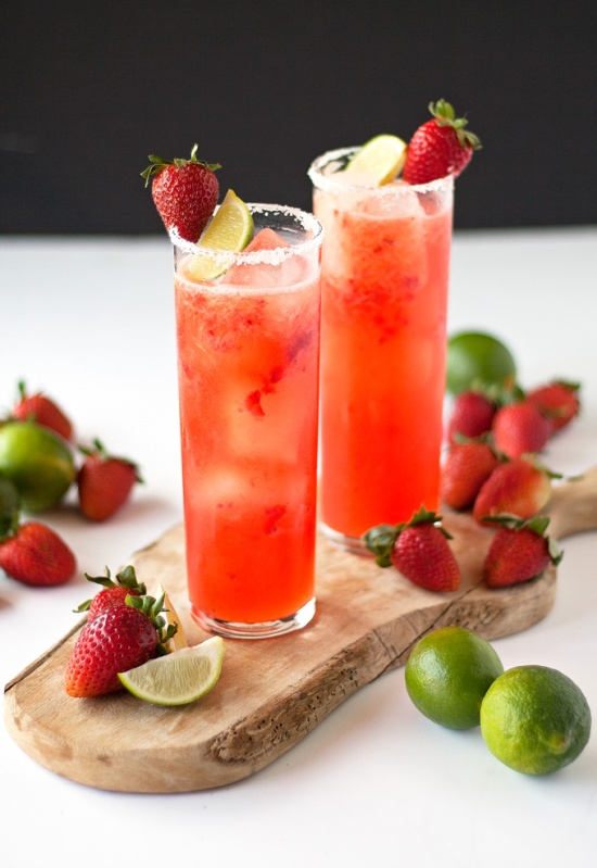 Roasted Strawberry Margaritas via A Happy Food Dance
