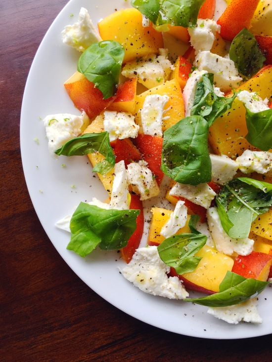 Nectarine, mozzarella, basil, and lime zest...this salad tastes like pure summer!